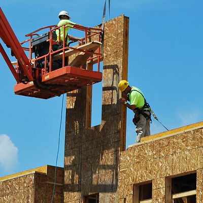 Aerial lifts can be rented from National Lumber