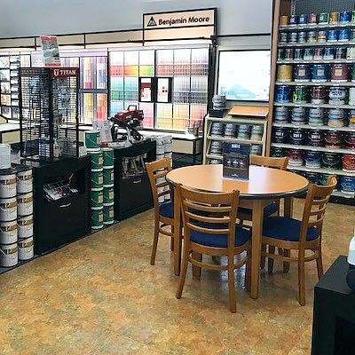 Paint selection seating area in Canton store