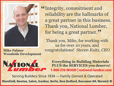 National Lumber, Mike Palmer Testimonial4, quarter page ad in 2018 Builder Architect magazine