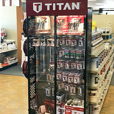 New Titan display cabinet in Canton store