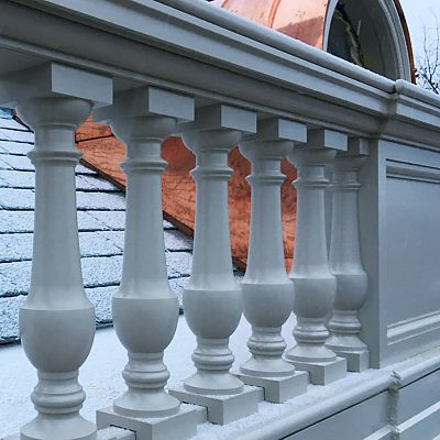 Historic building exterior architectural millwork AFTER restoration work