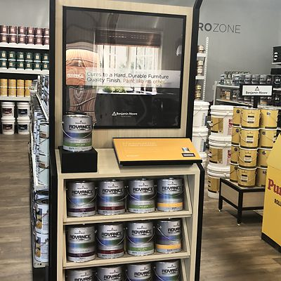 Mansfield, National Lumber Home Finishes, Benjamin Moore Advance paint display