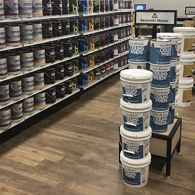Mansfield, National Lumber Home Finishes, Ceiling White paint display