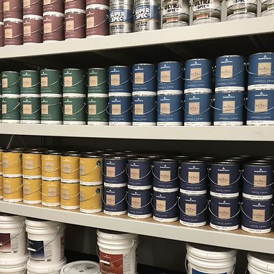 Mansfield, National Lumber Home Finishes, Benjamin Moore Regal paint display area