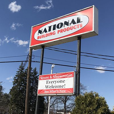 National Building Products sign in Easte Hartford, CT