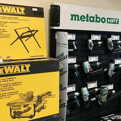 DeWalt and Metabo displays in East Hartford store