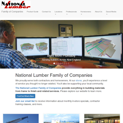 National Lumber home page screenshot