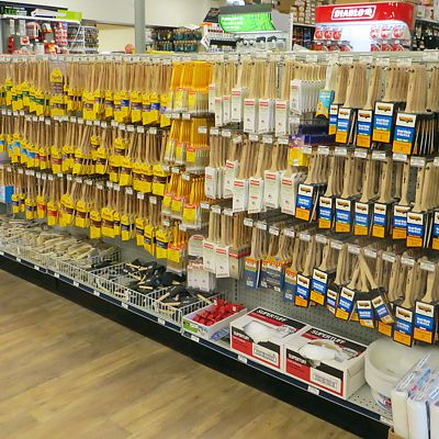 Brushes aisle in Newton store
