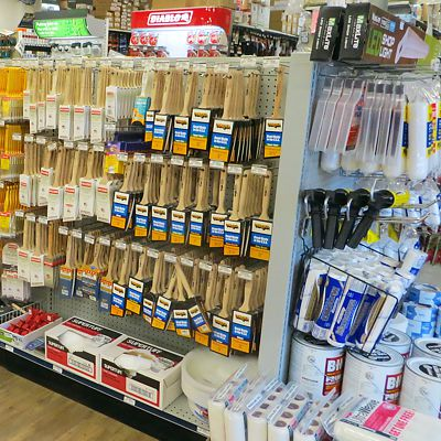 Brushes and rollers in Newton store