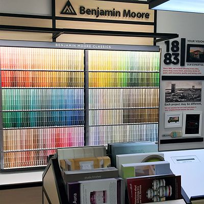 Benjamin Moore Paint Color Selection Area in Newton store