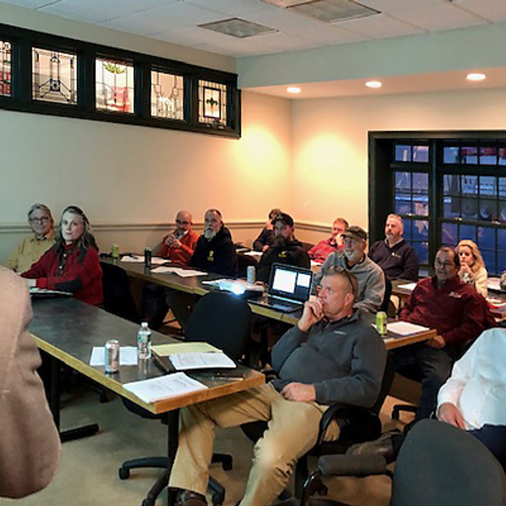 People attending the HBRA seminar in the training room at National Building Products in East Hartford, CT