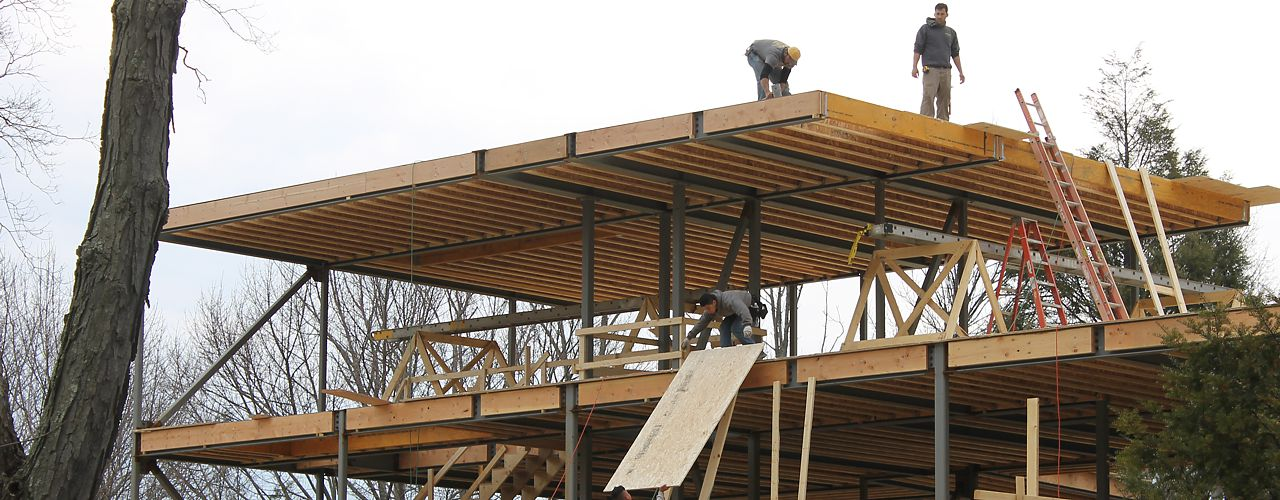 Multiple floors of precision end trimmed I-joists have been installed on the jobsite