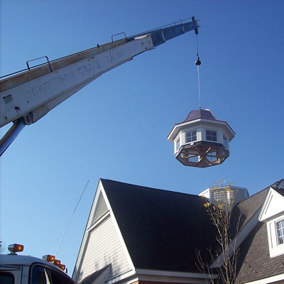 Custom prefabricated cupola delivered and installed by crane