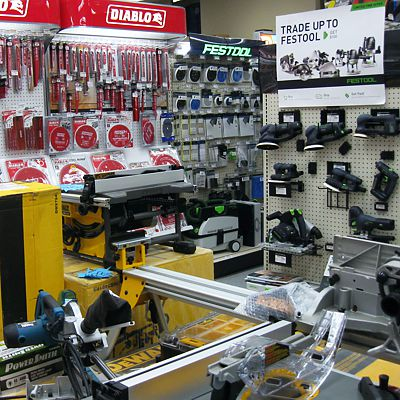 Store displays of power tools